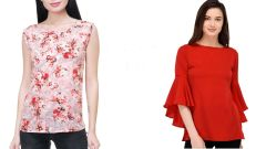 Red Bell Sleeve And Sleeveless Floral Printed Top Combo