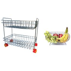 Prabhed 2 Layer Fix Basket and Round Fruit & Vegetable Basket for Kitchen (Pack of 2)