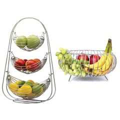 Prabhed 3 Layer Swing Basket | Round Fruit & Veg Basket for Kitchen and Dining Table (Combo Pack of 2)
