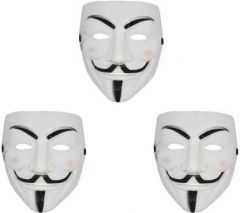 PTCMART Comic Face Mask Anonymous Fawkes Party Mask  (White, Pack of 3)