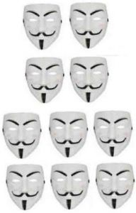 PTCMART Comic Full Face Mask Anonymous Guy Fawkes Party Mask  (White, Pack of 10)