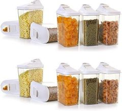 Easy Flow Kitchen Container Set Storage Box Perfect For Cereals Rice Pulses 1100 Ml Clear View (Pack Of 6)