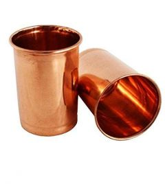 Combo Set Of Copper Glasses for Drinking Water, Tea & Coffee (350 ml) (Pack of 2)