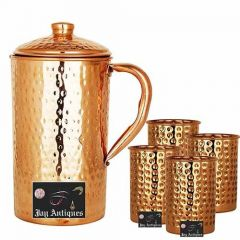 Hammered Copper Water Jug 2000 ML with 4 Hammered Glass 300 ML Each for Serving Drinking Storage Water (Pack of 5)