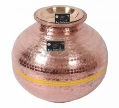 Copper Matka Water Pot (Height 9 inch) (Width 10 inch) (Capacity: 7L) (Pack of 1)