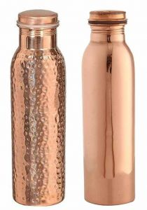 Hammered and Plain Copper Water Bottle Combo Set 900Ml (Pack of 2)