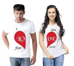 Fashionable and Stylish Cotton Blend Printed Matching Couple T-Shirt For Men and Women (White) (Pack of 2)