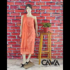 Cawa Stylish & Trendy Unstitched Cotton Suit Piece With Chikankari Embroidery Along with it comes a Lavishing Dupatta for Women's (Pack: Pack of 1) | (Color: Creamsicle Orange)