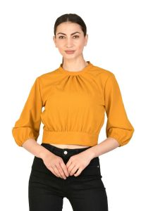 Henry and Zoe Women's Stylish & Traditional Solid Pattern with Regular Fit  Premium Crop Top