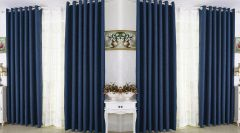 CRUSTY Texture 4 Piece Eyelet Polyester Solid Pattern Window Curtain Set For Home
