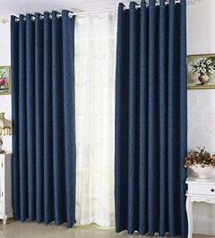 FABRIC EMPIRE Polyresin Solid Grommet Door Curtain (Pack of 2)