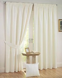 FABRIC EMPIRE Polyresin Solid Grommet Window and Door Curtain (Pack of 2)