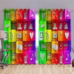 Fabric Empire Polyester Blend Multi Symbol Printed Designer Door Curtains (Pack of 2)