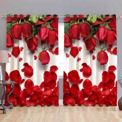 Fabric Empire Polyester Blend Rose Printed Designer Door Curtains (Pack of 2)