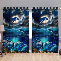 Fabric Empire Polyester Blend Digital Dolphin Printed Designer Door Curtains (Pack of 2)