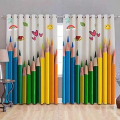 Fabric Empire Polyester Blend Pencil Printed Designer Door Curtains (Pack of 2)