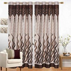 Fabric Empire Polyester Flame Printed Designer Door Curtains (Pack of 2)