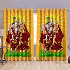 Fabric Empire Polyester Blend Radha Krishna Printed Designer Door Curtains (Pack of 2)