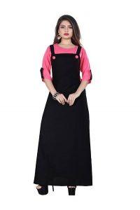 Women's Crepe Stunning Looking Solid Dress (Black & Dark-Pink)
