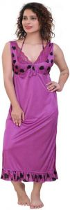 Mrghafeb Stylish & Fashionable Regular Full Length Satin Night Wear/Sleep Wear for Women (Pack of 1)   (Color: Purple)
