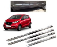 After Cars Datsun Redi Go Car Steel Side Beading with Steel Chrome Bumper Protector Guard (Set of - 4) Combo Set