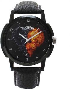 Round Dial Black Leather Analog Watch For Men & Women (DMLT020)