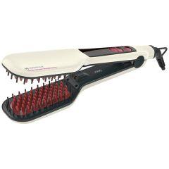 HAVELLS HC4030 Detangler Ionic & Keratin Smooth Straightening Brush, Fast Heating Within 60 Seconds (White)