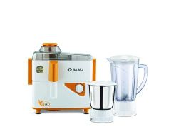 BAJAJ Neo JX4 450-Watt Juicer Mixer Grinder, Powerful Motor For Juicing, Grinding With 2 Jars (White & Orange)