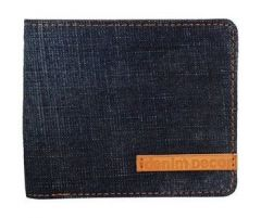 ASPENLEATHER Genuine Leather Canvas Blue Wallet For Men