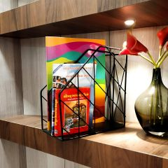 Stainless Steel 2 Compartments File Rack Paper Holder Desktop File Holders Organizers Document Cabinet Rack Display
