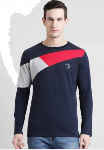 Solid Color Pattern Round Neck Half Sleeves Cotton Tees For Men's (Navy Blue)