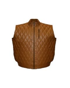 ASPENLEATHER Franchise Club Diamond Quilted Leather Vest (Tan)