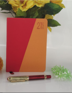 High-Quality Paper Stylish 2021 Year Diary Record Your Travel & Note (Red & Orange) (Pack of 1)