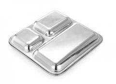 Heavy Duty Stainless Steel Square Small Dinner Plate with 3 Sections Divided Mess Trays for Kids Lunch | Camping | Events & Every Day (Pack of 2)