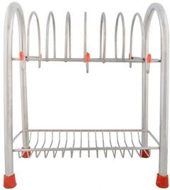2 Layer Stainless Steel Kitchen Dish Rack Plate Cutlery Stand Cup and Saucer Stand|Holder for 6 Cups & 6 Plates
