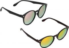 Stylish & Trendy Mirrored, UV Protection Oval Sunglasses For Men (Pink & Orange) (Pack Of 2)