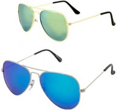 Trendy UV Protection Aviator Sunglasses For Men & Women (Free Size) (Pack Of 2)