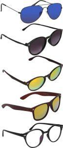 Trendy & Cool UV Protection Wayfarer, Aviator, Spectacle Sunglasses For Men & Women (Pack Of 5)