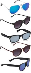 UV Protection Round, Aviator, Oval Sunglasses | Ideal For Men & Women (Pack Of 5)