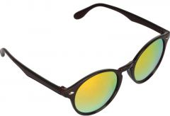 Mirrored, UV Protection Round Sunglasses For Men & Women (Golden) (Pack of 1)