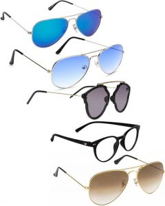 Trendy & Cool UV Protection, Gradient Aviator Sunglasses For Men & Women (Grey, Brown, Blue, Clear) (Pack Of 5)