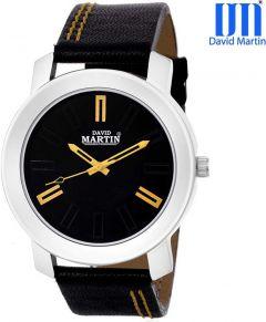 Black Round Analog Watch  Dial Genuine Leather For Unisex (DMLT015)
