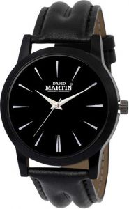 Round Black Dial Leather Analog Watch For Unisex (DMLT018)