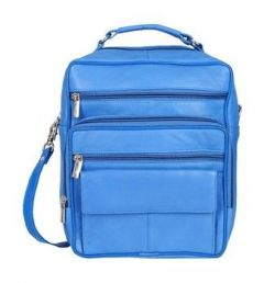 Splash USA Genuine Leather Doctor Bag/Travel Bag (Blue)