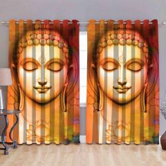 FABRIC EMPIRE 8 Eyelets Digital Printed Long Door Curtain (Multi-Color)
