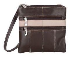 ASPENLEATHER Brown Genuine Leather Cross Body Bag