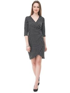 Crepe Fabric Self Pattern Midi Length Bodycon Dress for Womens (Color: Black)
