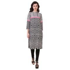 GetArrivals Crepe Style Printed Regular Fit Kurti for Women (Grey)