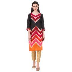 GetArrivals Women's Regular 80% Cotton Dress Kurta (Red & Black)