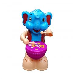 Happy Drummer Elephant With Light, Music And 360 Degree Rotation (Pack Of 1)